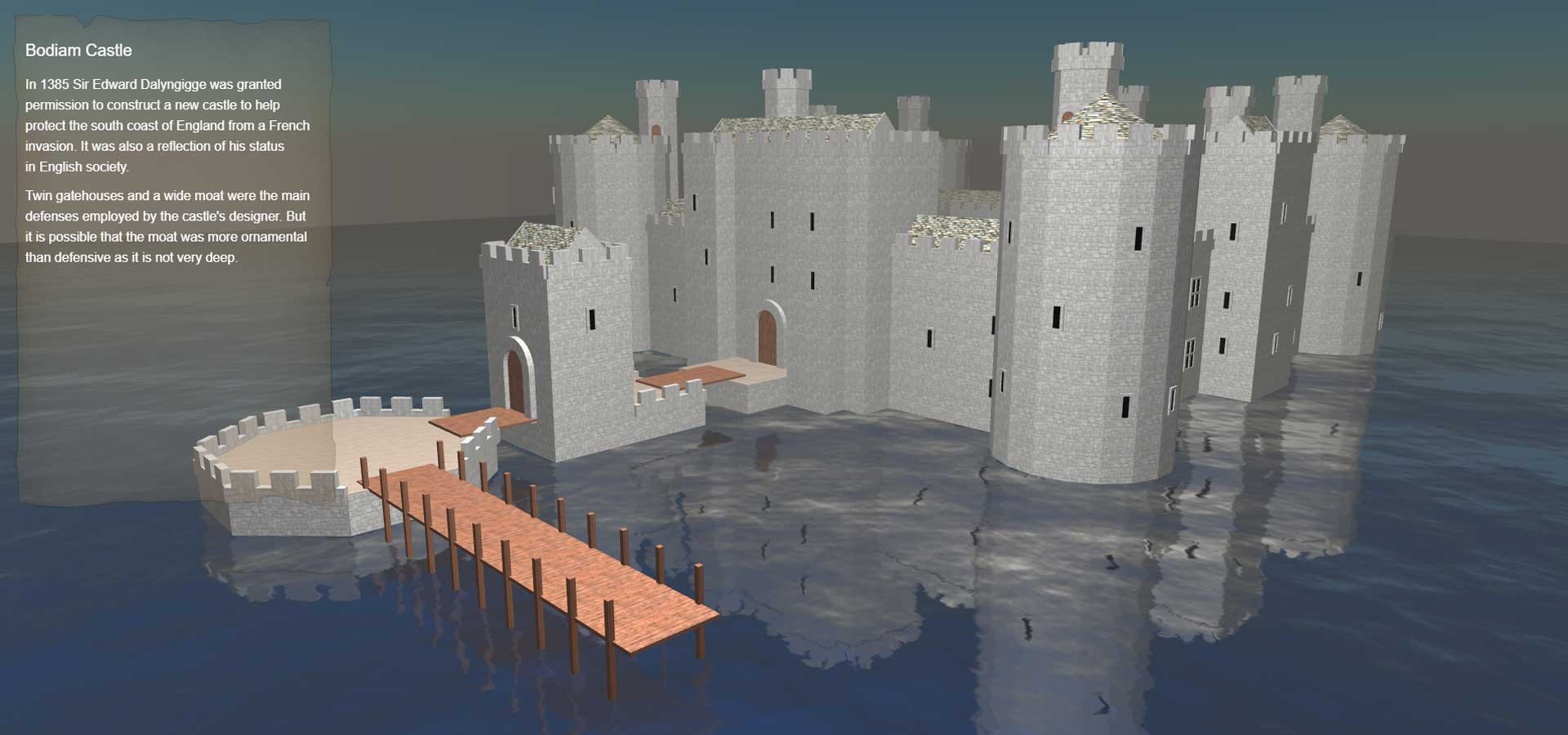 Virtual Bodiam Castle ThreeJS