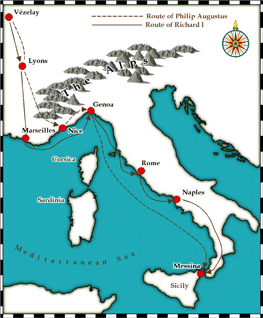 Medieval and Middle Ages History Timelines Third Crusade Maps