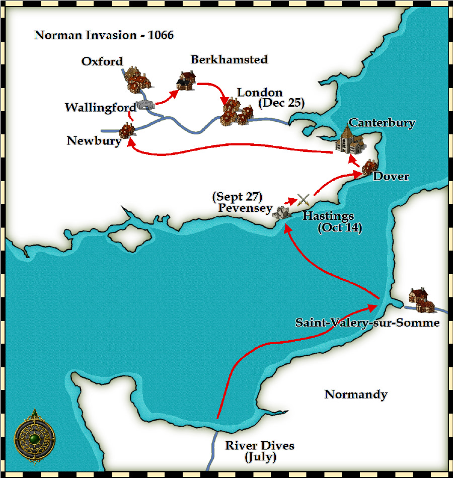 Map Of England Hastings.Medieval And Middle Ages History Timelines Key Battles In 1066