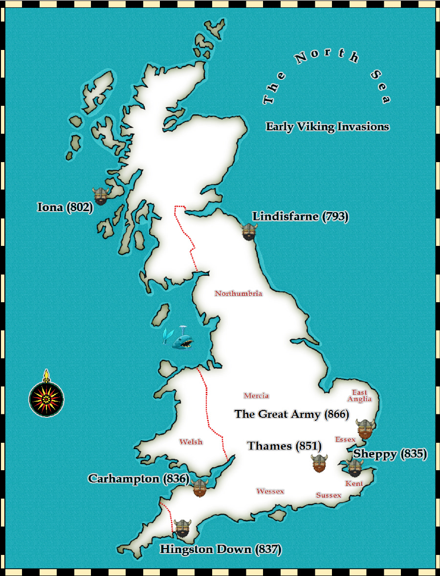 Map Of England Castles.Medieval And Middle Ages History Timelines Early Viking Invasions